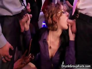 Horny girl with glasses giving blowjob part3