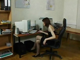 Office deepthroat and ass