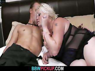 Fatty in lingerie seduces a garden worker