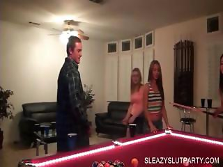 Sex party with cuties playing pool