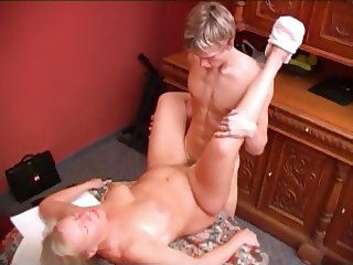 RUSSIAN mom blonde mature with a yong man