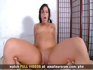 Amateur brunette sucks a hard cock and gets a rough fucking and a facial