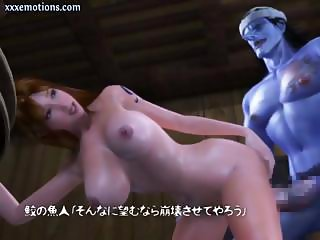 Busty 3D animated brunette rides a blue monster's huge cock
