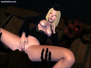 3D-animated blonde and a cutie brunette get some dick down in the dungeon