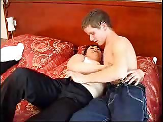 mature and boy having fun