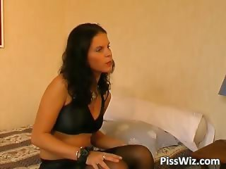 Hot slut in black lingerie pisses her part4