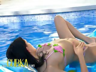 brunett russian princess swimming