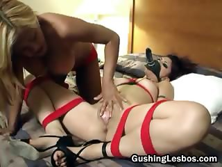 Bound lesbo get wipped and fucked part5