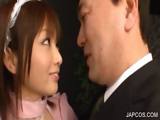 Asian maiden erotically kissing a guy