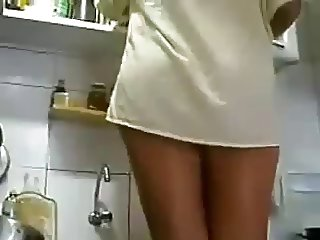 Upskirt Thong in the Kitchen
