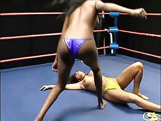 topless catfight of two beauties, pretty rough actually