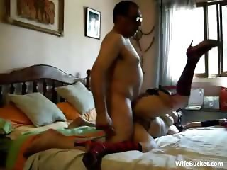 Masked wife fuck and creampie