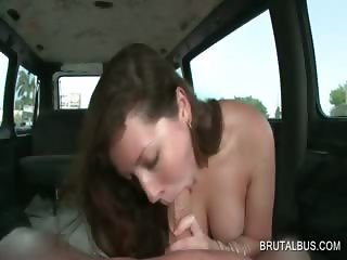 Teenage minx blows a huge dong in the bus