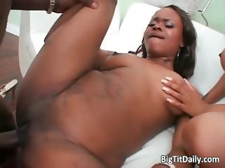 Two horny black babes suck enormous part3