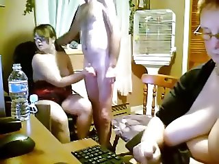 Spanish young and old threesome in kitchen - webcam
