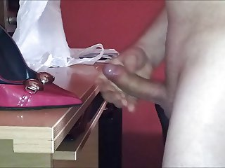 Shoe fuck and cum on table