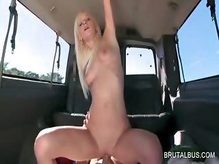 Blonde tramp riding penis for cash in the bus