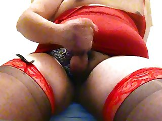 Fat Crossdresser Masturbating Small Cock First Video