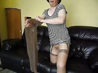 Glossy pantyhose,nylons and dildo