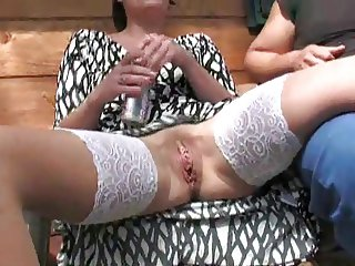 Fisting threesome in the barn