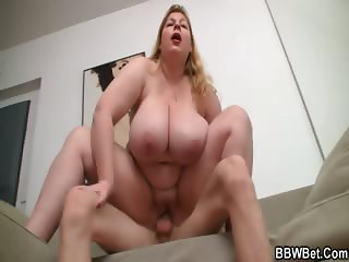 Huge lady is sucking and riding