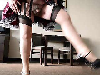 Sissy Ray in Maids Skirt in Hotel