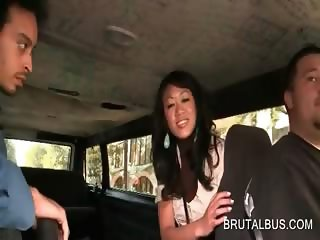 Asian superb girl getting picked up for sex in bus