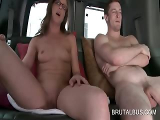 Amateur couple getting naked in the sex bus