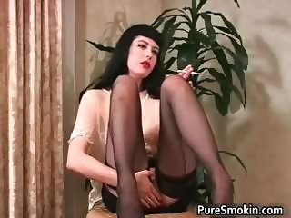 Sexy brunette slut smokes cigarette part6