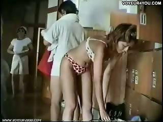 Public clothes changing in locker room
