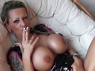 Hot Tattoed Cougar Smoking and Playing