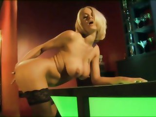 British blonde gets fucked in the bar in stockings
