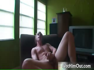 Young blonde gay guy jerks his stiff rod part5