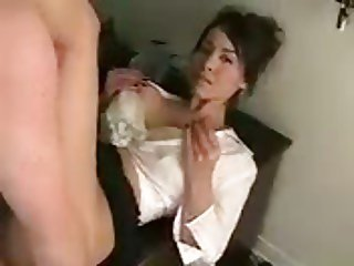 Big-boob brunette gets fucked and facialed in the office.