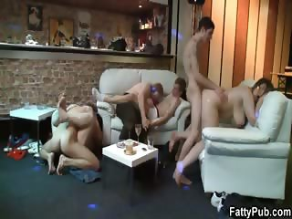 Partying fatty is boned from behind