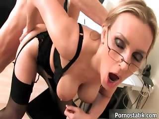 Busty blonde babe gets horny riding part3