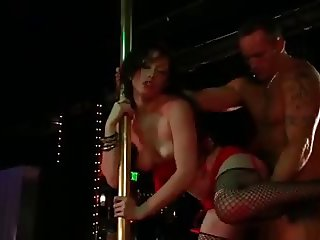 Sexy Brunette Striptease Show and Fuck for Lucky Man