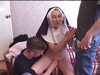 Nun fucks with two young guys