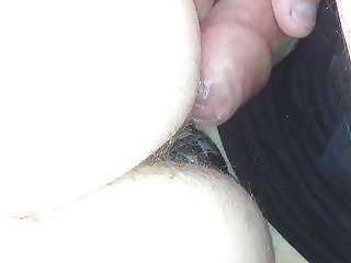 rubbing my uncut cock on her hairy ass.