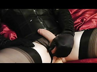 crossdresser cums with dildo sex toy