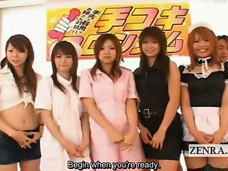 Subtitled Japanese amateurs handjob game with cumshots