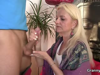 Granny loves to suck and ride his big meat