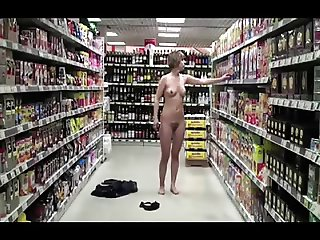 Daring girl strips down in supermarket