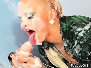 Horny busty blonde with huge tits part1