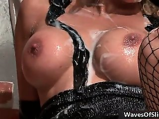 Busty blonde slut goes crazy jerking part3
