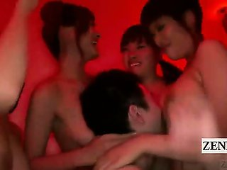Subtitle crazy red limned Japanese AV group harem party