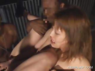 Asian slave finger fucked in gangbang