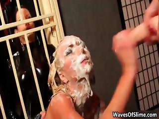 Cum loving blonde gets covered part6
