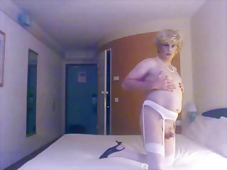 crossdresser white garterbelt