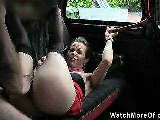 Amica enjoys having sex inside the taxi